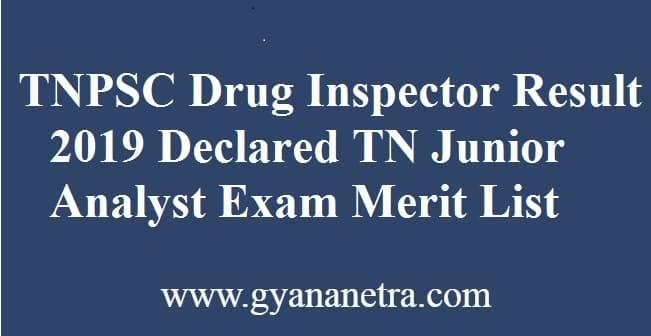 TNPSC Drug Inspector Result