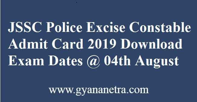 JSSC Police Excise Constable Admit Card