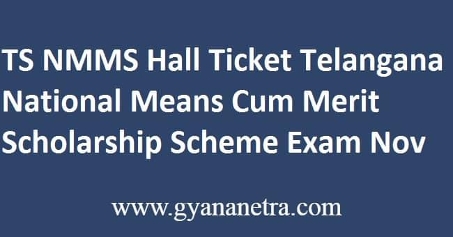 TS NMMS Hall Ticket Exam