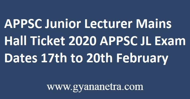 APPSC Junior Lecturer Mains Hall Ticket