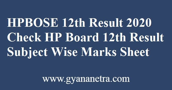 HPBOSE 12th Result
