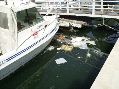Photo: Trash floating in the water at Club Nautico, Adra, Spain. Credit: Lisa Borre.