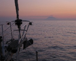 Photo: Passage to the Aeolian Islands with Stromboli visible in the distance. Credit: Lisa Borre.