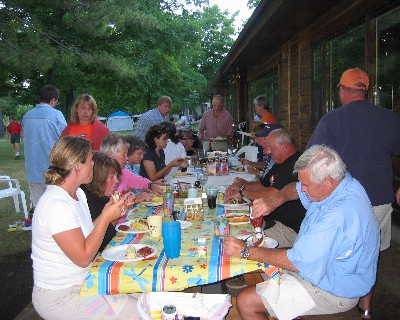 Photo: The Dean family brought brats from Wisconsin for a cookout at the cabins on Paradise Bay. Credit: L. Borre.