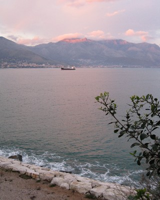 A view of the Aurunci Mountains at sunset from Punta Stendardo in Old Gaeta. Credit: Lisa Borre.