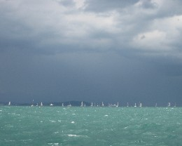Photo: An intense thunderstorm interrupted the weekend regatta in Gaeta. Credit: Lisa Borre.