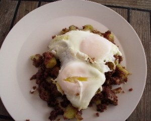Photo: corned beef hash and poached eggs cruising recipe. Credit: Lisa Borre.