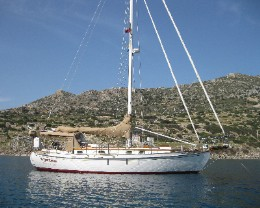Photo: Tayana 37 Gyatso at anchor in Knidos, Turkey. Credit: Lisa Borre.