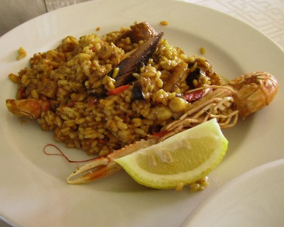 Photo: Paella (seafood rice) at a beachfront restaurant on Ibiza, Spain. Credit: Lisa Borre.