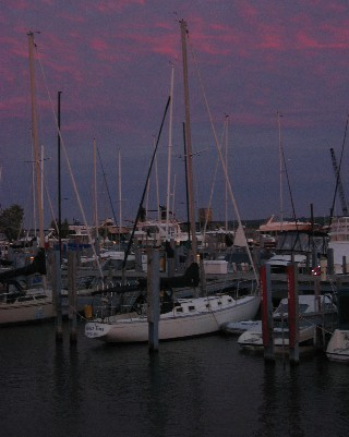 Photo: About Time at the municipal marina in Mackinaw City, Michigan, 2005. Credit: L. Borre.