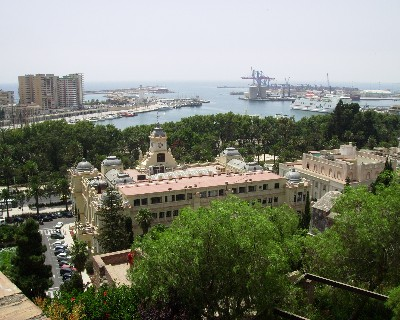 Photo: View from the Alcazaba of the port in Malaga, Spain. Credit: Lisa Borre.