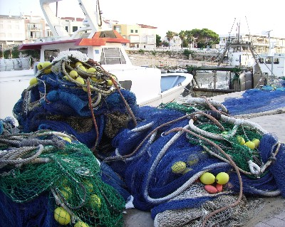 Photo: Fishing nets on commercial quay in Ciutadella, Menorca, Balearic Islands, Spain. Credit: Lisa Borre.
