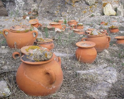 Photo: Terracotta funeral urns at the Phoenician necropolis at Sant Antioco. Credit: Lisa Borre.