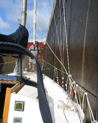 Photo: Preparing for the lock to raise us to the height of Lake Superior. Credit: L. Borre.