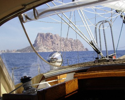 Photo: View of Peñan de Ifach from the cockpit of Gyatso. Credit: Lisa Borre.