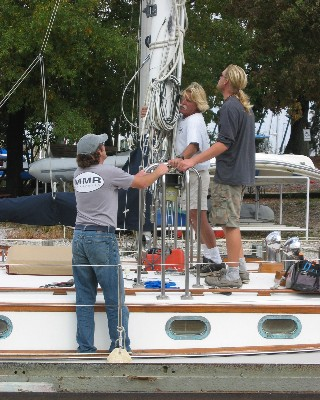 Photo: Tayana 37 re-stepping mast. Credit: Lisa Borre.