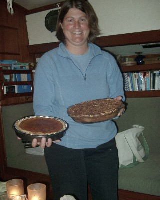 Photo: Thanksgiving pies aboard Gyatso.