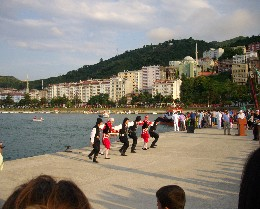 Photo: A dance troop at Tirebolu, Turkey harbor festival. Credit: Lisa Borre.