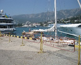 Photo: Gyatso in Yalta harbor awaiting clearance. Credit: Lisa Borre.