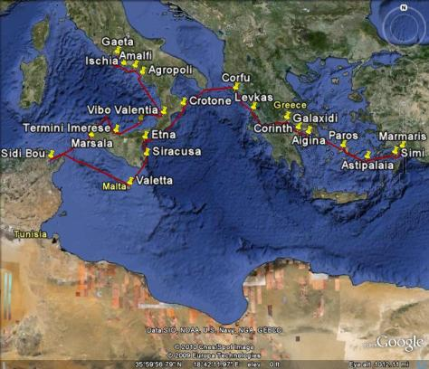 Image: Map of Gyatso's 2009 voyage in the Mediterranean. Credit: L. Borre.