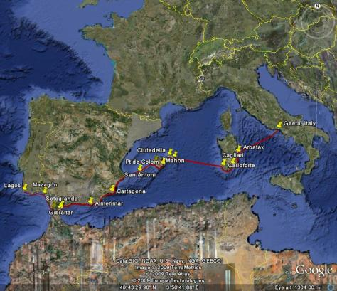 Photo: Map of Gyatso's voyage from Portugal to Spain and Italy in 2008. Credit: Lisa Borre.