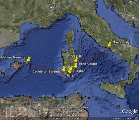Image: Map of s/y Gyatso's cruise to Sardinia in 2008. Credit: Lisa Borre.