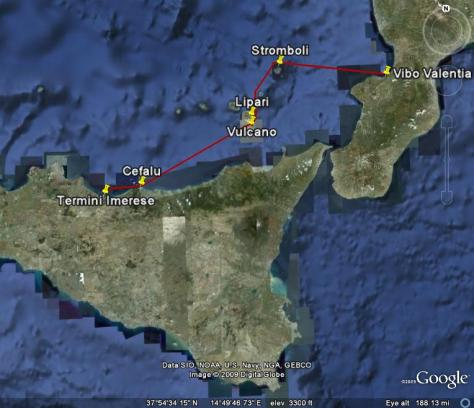 Image: Map of Leg 2: Aeolian Islands to Northern Sicily. Credit: L. Borre.