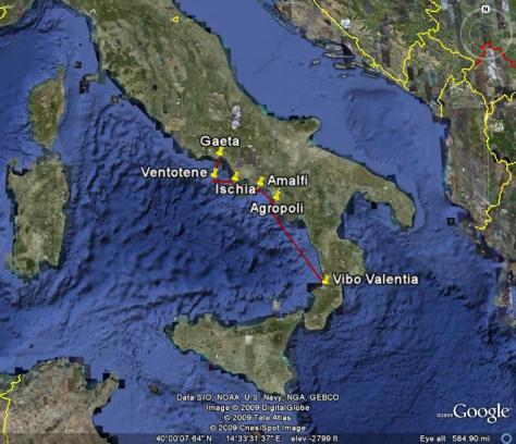 Image: Map for Leg 1: Gaeta to Vibo Valentia, Italy. Credit: L. Borre.
