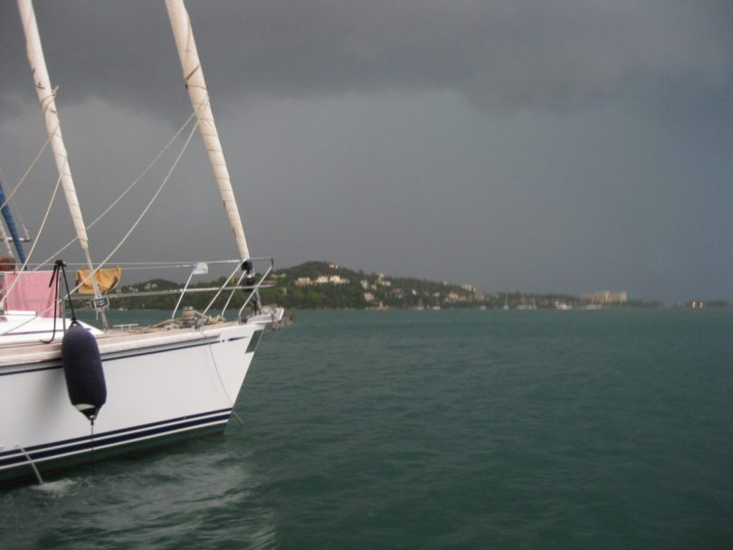 Photo: Thunderstorm at marina in Corfu, Greece. Credit: Lisa Borre.