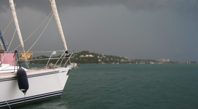 Photo: Thunderstorm at marina in Corfu, Greece. Credit: Lisa Borre.
