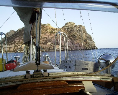 Photo: Tayana 37 Gyatso at anchor in Aguilas, Spain. Credit: Lisa Borre.