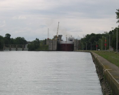 Photo: A freighter departs a lock on the Welland Canal. Credit: L. Borre.