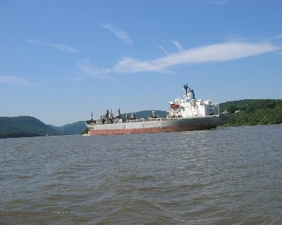 Photo: Southbound freighter in the Hudson River Highlands. Credit: L. Borre.
