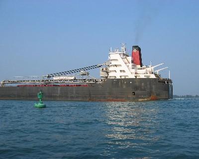 Photo: A ship passes us on the Detroit River. Credit: L. Borre.