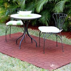 interlocking pvc tiles over grass