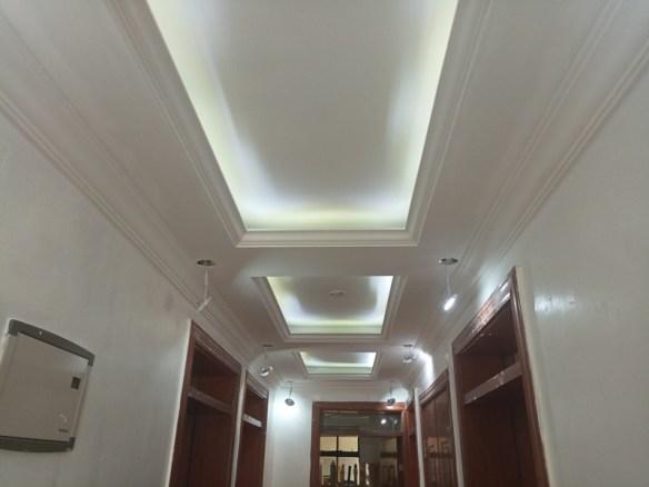 Gypsum ceiling corridor