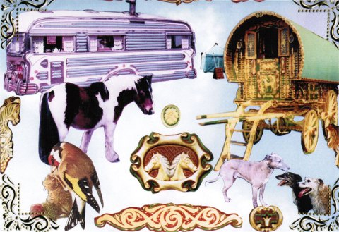 Card with pictures of wagon and horses