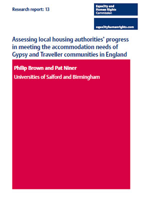 Front cover of research report 'Assessing local housing authorities' progress in meeting the accommodation needs of Gypsy and Traveller communities in England'