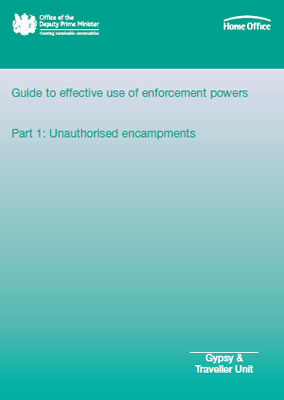 Front page of Home Office report 'Guide to effective use of enforcement powers, Part 1: Unauthorised encampments'