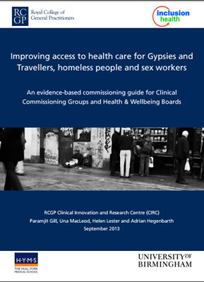 thumbnail of report cover for 'Improving access to health care for Gypsies and Travellers, homeless people and sex workers' for inclusion health