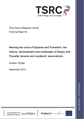 Thumbnail of working paper front cover 'Hearing the voice of Gypsies and Travellers: the history, development and challenges of Gypsy and Traveller tenants and residents' associations'