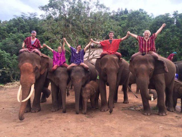 Grant Rachel and friends on elephants at Patara elephant farm