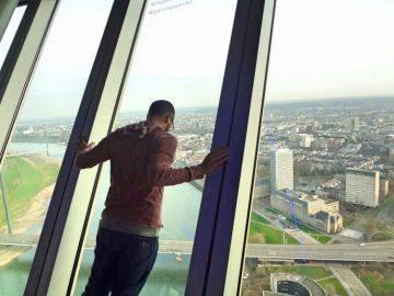 Grant looking out from Rheinturm (Rhine Tower)