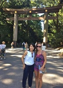 Rachel and friend at Meiji Shrine