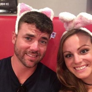 Grant and Rachel at maid cafe in Tokyo