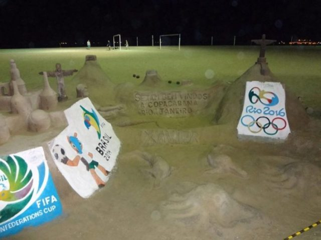 Rio de Janeiro getting ready for the Olympics with Olympic themed sand castles