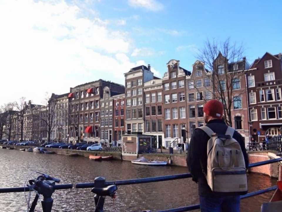 Grant at a Canal in Amsterdam