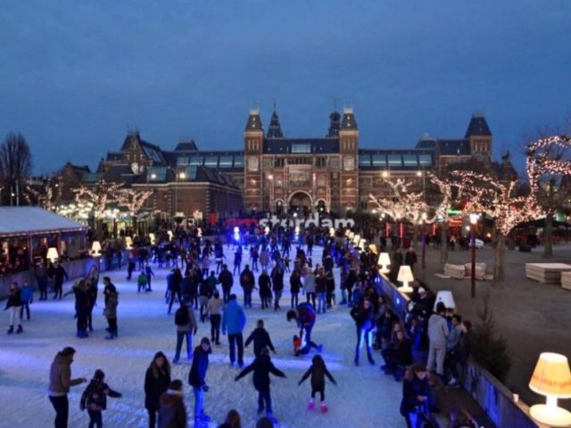 Ice skating at Museumplein in Amsterdam