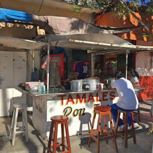 Tamales at a Tulum streetcar