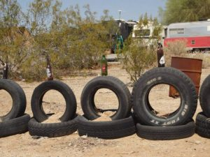 Tires and beer bottles
